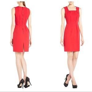 BCBG MaxAzria Red Evelyn Pleated Sheath Dress